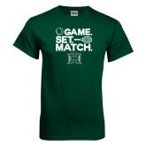 Dark Green T Shirt-Tennis Game Set Match