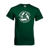 Dark Green T Shirt-Volleyball Ball w/ Stars