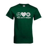Dark Green T Shirt-Volleyball Peace Love Volleyball Stacked