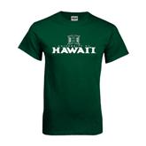 Dark Green T Shirt-Stacked University of Hawaii