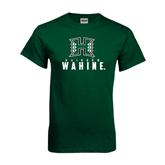 Dark Green T Shirt-Stacked Rainbow Wahine