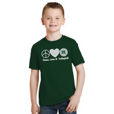 Youth Dark Green T Shirt-Volleyball Peace Love Volleyball Stacked