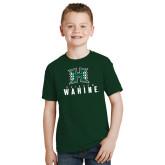 Youth Dark Green T Shirt-Stacked Rainbow Wahine