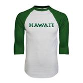 White/Dark Green Raglan Baseball T-Shirt-Hawaii