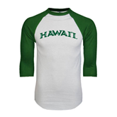 White/Dark Green Raglan Baseball T-Shirt-Hawaii Arch