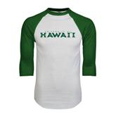 White/Dark Green Raglan Baseball T-Shirt-University Of Hawaii