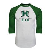 White/Dark Green Raglan Baseball T-Shirt-Dad