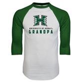 White/Dark Green Raglan Baseball T-Shirt-Grandpa