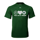 Under Armour Dark Green Tech Tee-Volleyball Peace Love Volleyball Stacked