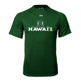 Under Armour Dark Green Tech Tee-Stacked University of Hawaii