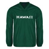 V Neck Dark Green Raglan Windshirt-Hawaii