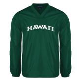 V Neck Dark Green Raglan Windshirt-Hawaii Arch