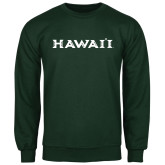 Dark Green Fleece Crew-Hawaii