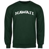 Dark Green Fleece Crew-Hawaii Arch