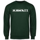 Dark Green Fleece Crew-University Of Hawaii