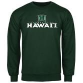 Dark Green Fleece Crew-Stacked University of Hawaii