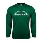 Performance Dark Green Longsleeve Shirt-Football Arched