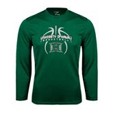 Performance Dark Green Longsleeve Shirt-Basketball In Ball