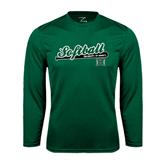 Performance Dark Green Longsleeve Shirt-Baseball Script