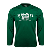 Performance Dark Green Longsleeve Shirt-Baseball Crossed Bats
