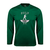 Performance Dark Green Longsleeve Shirt-Golf Arched With Player