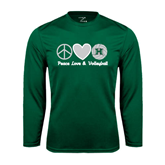 Performance Dark Green Longsleeve Shirt-Volleyball Peace Love Volleyball Stacked
