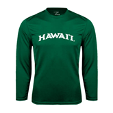Performance Dark Green Longsleeve Shirt-Hawaii Arch