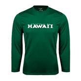 Performance Dark Green Longsleeve Shirt-University Of Hawaii