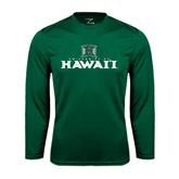 Performance Dark Green Longsleeve Shirt-Stacked University of Hawaii