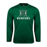 Performance Dark Green Longsleeve Shirt-Stacked Rainbow Warriors