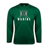Performance Dark Green Longsleeve Shirt-Stacked Rainbow Wahine