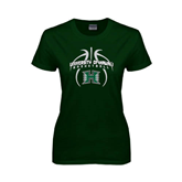 Ladies Dark Green T Shirt-Basketball In Ball