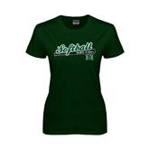 Ladies Dark Green T Shirt-Baseball Script