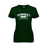 Ladies Dark Green T Shirt-Baseball Crossed Bats