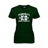 Ladies Dark Green T Shirt-Cross Country XC
