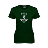 Ladies Dark Green T Shirt-Golf Arched With Player