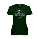 Ladies Dark Green T Shirt-Soccer Circle