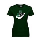 Ladies Dark Green T Shirt-Swim and Dive Swimmer