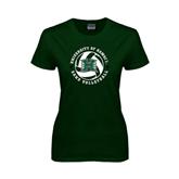 Ladies Dark Green T Shirt-Volleyball Ball w/ Stars