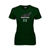 Ladies Dark Green T Shirt-Track & Field Side Shoe