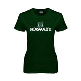 Ladies Dark Green T Shirt-Stacked University of Hawaii