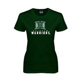 Ladies Dark Green T Shirt-Stacked Rainbow Warriors