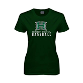 Ladies Dark Green T Shirt-Baseball