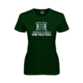 Ladies Dark Green T Shirt-Sand Volleyball