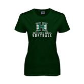 Ladies Dark Green T Shirt-Softball