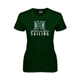 Ladies Dark Green T Shirt-Sailing