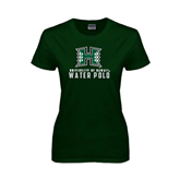 Ladies Dark Green T Shirt-Water Polo
