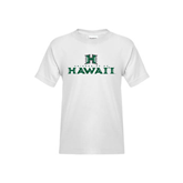 Youth White T Shirt-Stacked University of Hawaii