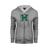 ENZA Ladies Grey Fleece Full Zip Hoodie-Official Logo Distressed