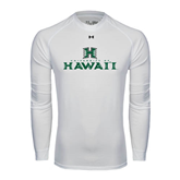 Under Armour White Long Sleeve Tech Tee-Stacked University of Hawaii